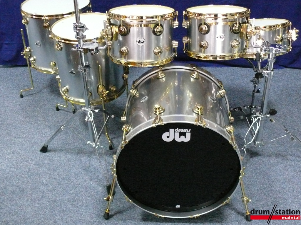 Dw Maple Mahogany Glossy Stainless Steel Drum Station